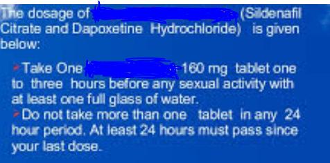Dapoxetine and Sildenafil Dosage