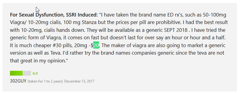 According to one user, 302GUY, hes taken every brand name drug for impotence including Viagra, Cialis, and Stanza, but he had one complaint about all the meds—they were all expensive