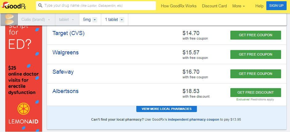 Cialis 5mg Prices at Local Pharmacies