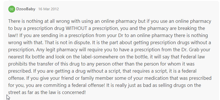 Review for online drugstore